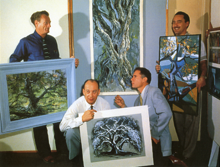 "A photo taken of the ""4 Artists"" with their version of the same tree taken in 1958. From L to R, Josh Meador, Marc Davis, Eyvind Earle, and Walt Peregoy."