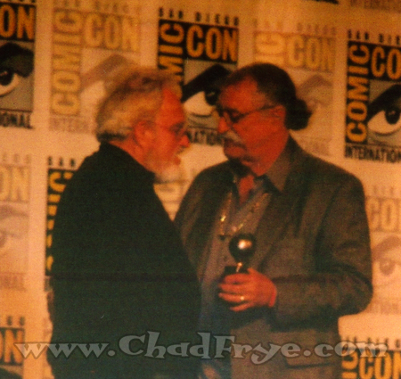 The best part of the Eisners was when my friend Russ Heath was inducted into the Hall of Fame. Here he is accepting his trophy from Sergio Aragones.