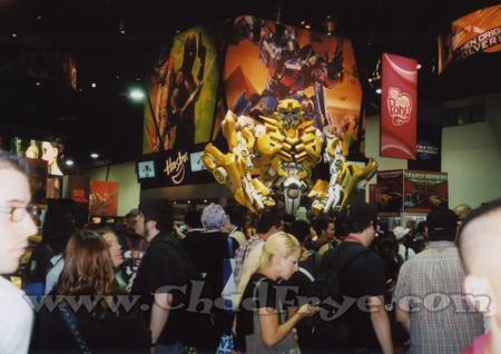 This shot featuring a lifesize Transformer helps show a little of the crowded experience that defines Comic Con.