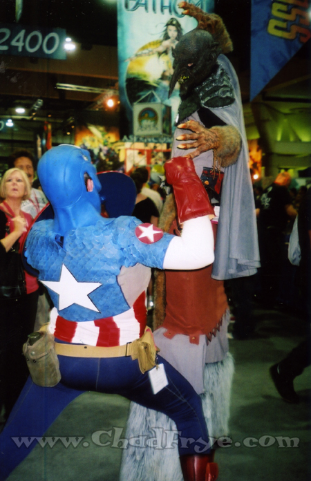 A terrific Captain America who spontaneously got into a fight with this other costumed character who was on stilts! Some of these fans go all out when they make their costumes!