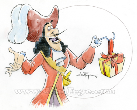 A watercolor sketch of Disney's Captain Hook. Click on the image to see it larger.