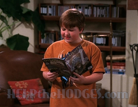 "Angus T. Jones looking at an Oshikuru comic on the set of ""Two and a Half Men""."
