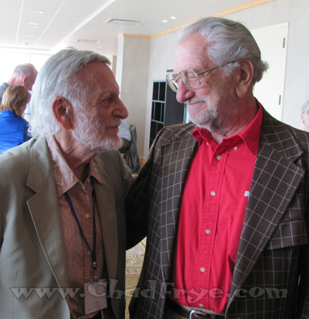 "Two comic book legends greeting each other - Jerry Robinson (from early ""Batman"" comics) and Joe Kubert (""Sgt. Rock"", ""Hawkman"")."