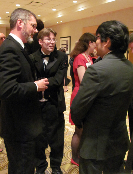 "Reuben Award nominee Richard Thompson (""Cul de Sac"") in the middle with a friend on the left, and Feature Animation division award winner Ronnie del Carmen."