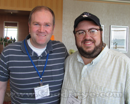 Doug Bratton with Chad Frye who were acquainted in high school days in New Jersey, only to discover that each had gotten into cartooning all these years later  when meeting up for