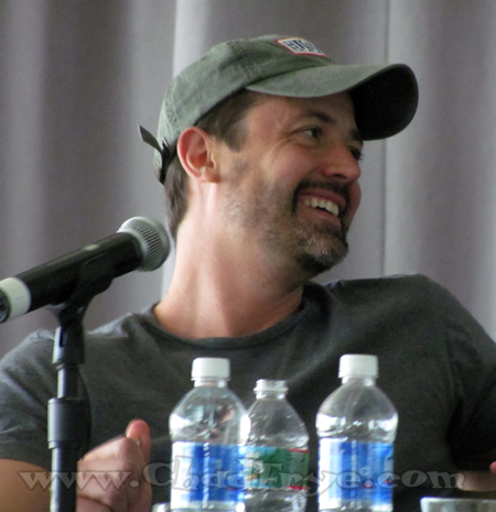 """Stephan Pastis (""""Pearls Before Swine"""") caught in a candid moment during the USO talk."""