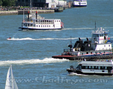 The Hudson River flowed beneath us crowded with Sunday boaters including a Mark Twain era paddlewheel boat!