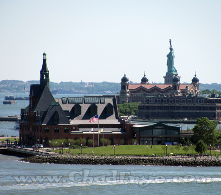 This view greeted us from the top floor of the hotel. In the foreground is a historic train station, just beyond that is Ellis Island where relatives of mine entered this country, and then a familiar green statue.