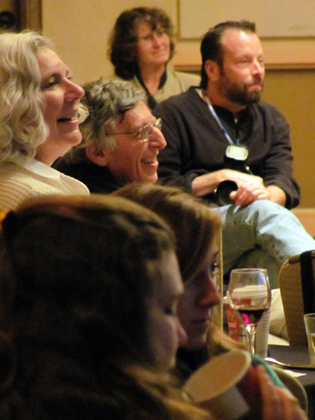 "Those entertained by the ""smackdown"" were Linda Houden, ""New Yorker"" cartoonist Mort Gerberg, and David Folkman."