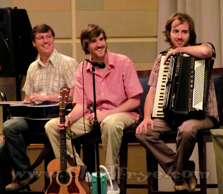 The comedy team of Stuckey & Murray with their accordianist. No comedy team should go without one.