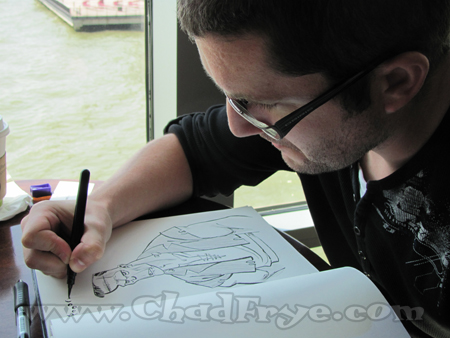 """""""The Secret of Kells"""" character designer Barry Reynolds as he adds a creepy something to my sketchbook collection of monster drawings."""