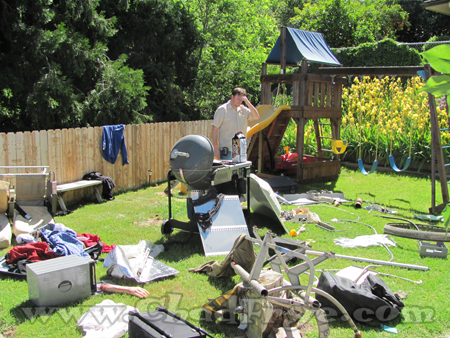 "The backyard was literally littered with airplane parts for ""LOST"" atmosphere."
