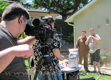 Director of Photography Josh Turchetta shooting a scene with Steve Czarnecki, Daniel Roebuck, and another friend.