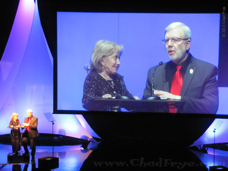June Foray and Leonard Maltin